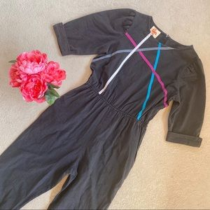 Vintage Charcoal Grey Abstract Jumpsuit